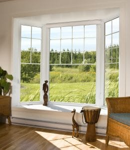 sunny bay window overlooking grass and trees
