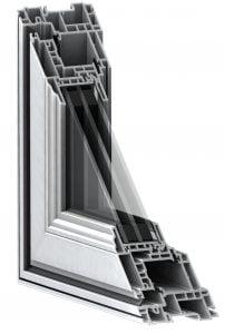 corner cutaway detail of casement vinyl profile