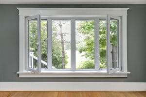 A row of tilt & turn windows with the left and right panes opening in from the side like casement windows