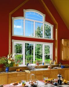 custom shaped kitchen windows with unique grilles